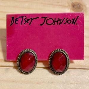 Betsey Johnson Red Jewel Rhinestone Earrings